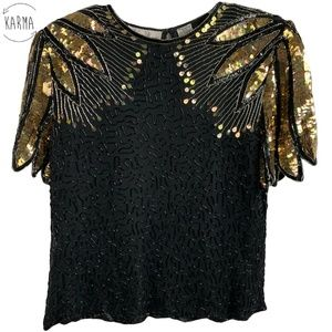 Laurence Kazar Silk Beaded Sequined Top Size L A5